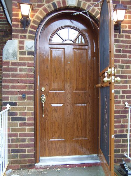 Arch doors 3 panel true arch pair character cherry - Steel vs fiberglass exterior door ...